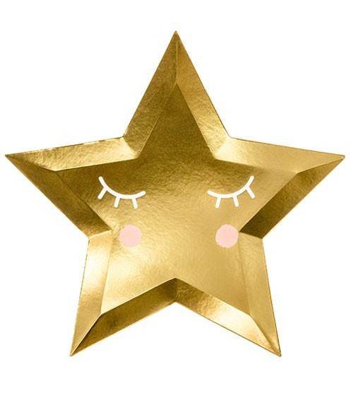Stern-Pappteller mit Gesicht - metallic gold - 6 Stück