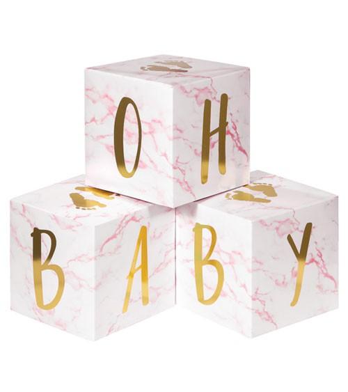 "Babywürfel aus Pappe ""Oh Baby"" - marble rosa - 3-teilig"