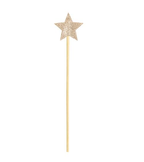 Zauberstab mit Stern aus Filz - glitter gold - 36 cm