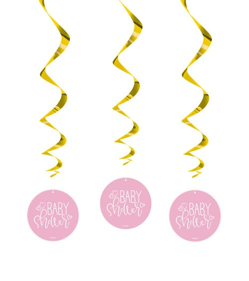 """Spiralgirlanden """"Baby Shower - rosa"""" - 3 Stück"""