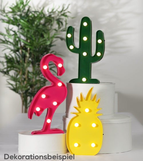 "LED-Deko ""Flamingo Ananas Kaktus"""
