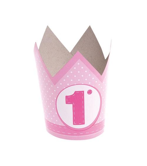 """Krone aus Papier """"1. Geburtstag"""" - rosa - 6 Stück"""
