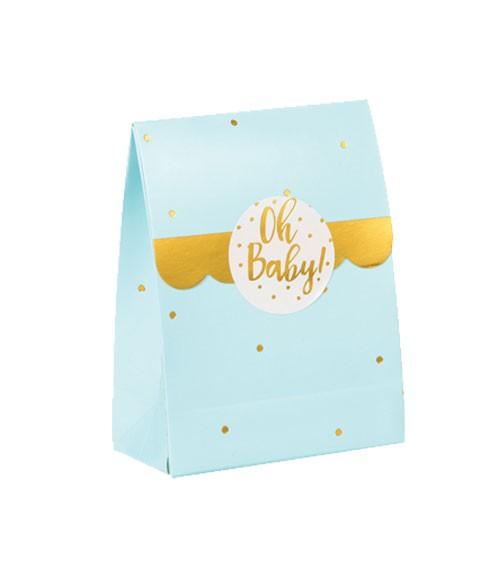 """Geschenkboxen """"Oh Baby"""" mit Sticker - blau & gold - 8 Stück"""