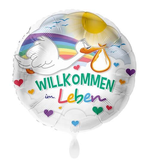"""Folienballon mit Storch """"Willkommen im Leben"""" - 43 cm"""