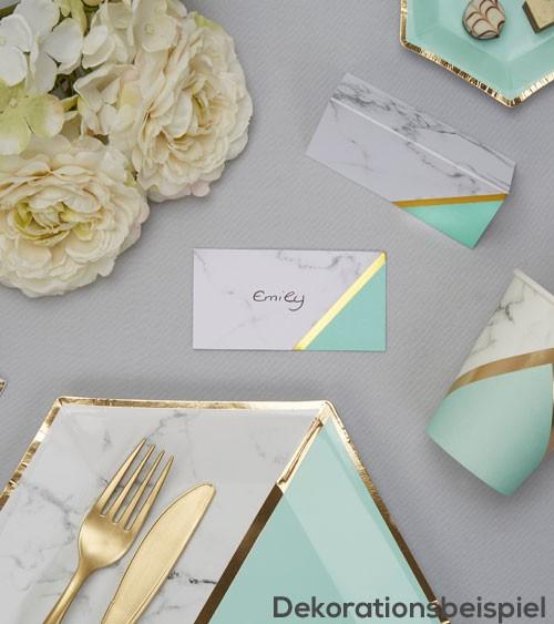 """Platzkarten """"Marmor"""" - mint/gold - 10 Stück"""