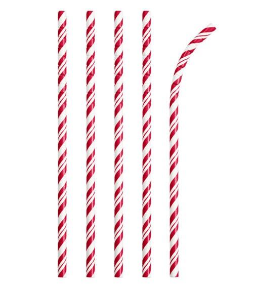 Flexible Papierstrohhalme mit Streifen - rot - 24 Stück