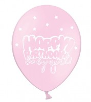 "Luftballons ""Happy Birthday baby girl!"" - rosa - 6 Stück"