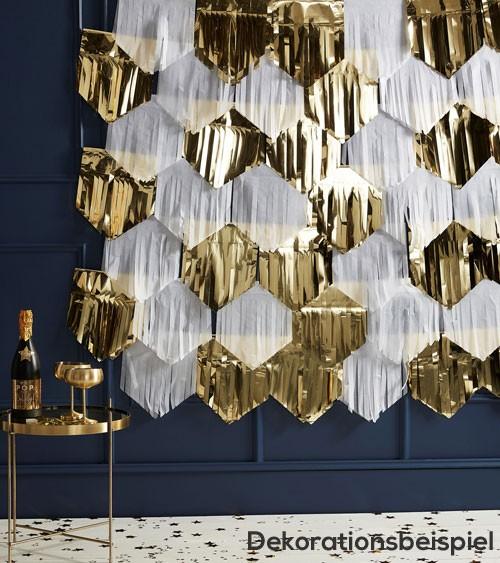 DIY Tassel-Backdrop - weiss/gold - 49-teilig