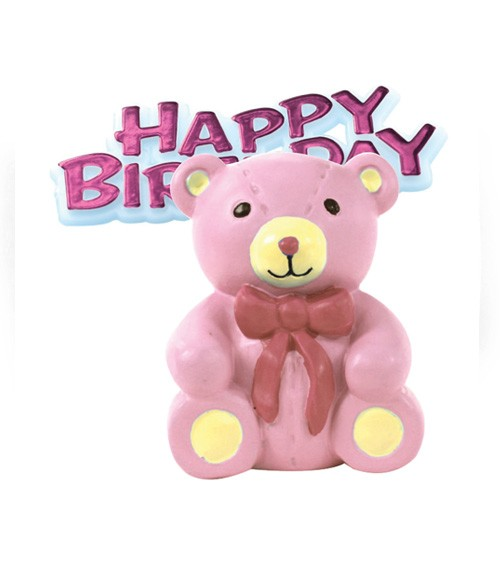 "Tortendekoration ""Teddybär"" Happy Birthday - rosa - 2-teilig"
