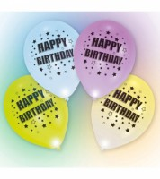"Leucht-Ballons ""Happy Birthday"" - 4 Stück"