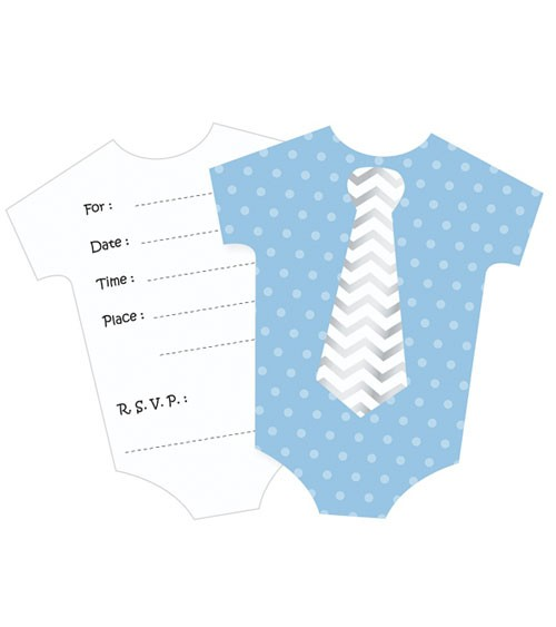"""Babyparty-Einladungskarten """"Babybody"""" - blau - 6 Stück"""