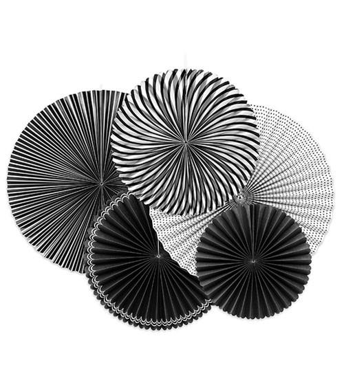 Rosetten-Set - schwarz/weiß - 5-teilig