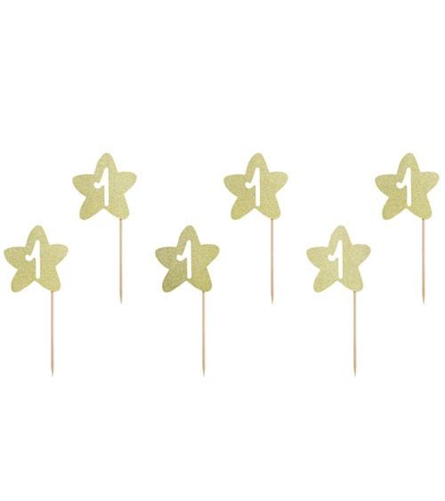 "Cupcake-Picks ""Stern"" - 1. Geburtstag - glitter gold - 6 Stück"