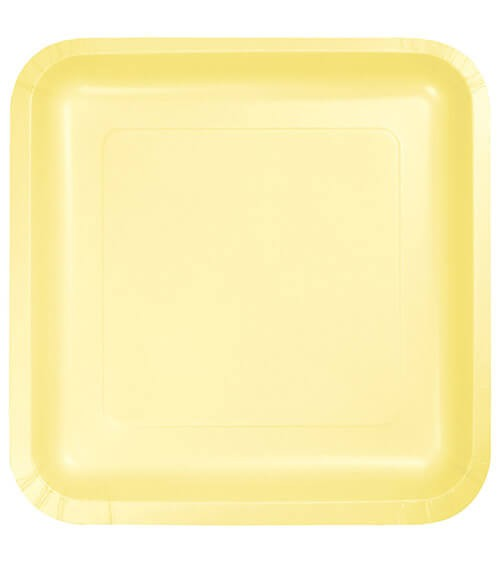 Eckige Pappteller - gelb - 18 Stück