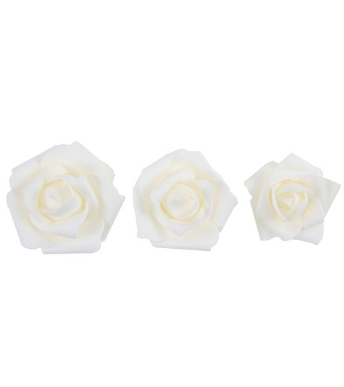 Rosenblüten-Streuteile aus Kunststoff - weiß - 9-teilig