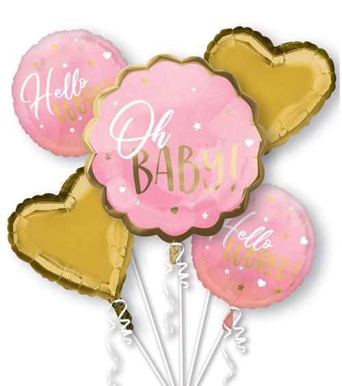 "Folienballon-Set ""Oh Baby"" - Girl - 5-teilig"