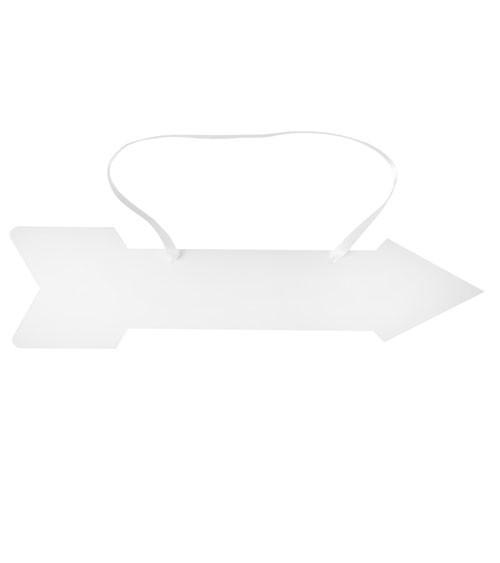 Pfeil aus Pappe zum Aufhängen - weiß - 43 cm