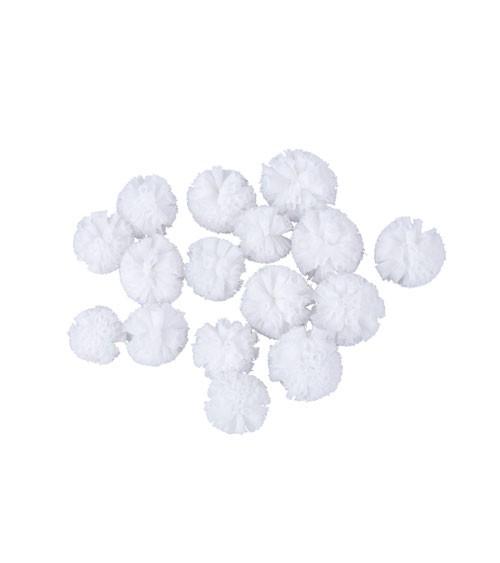 Soft-Tüll-Pompons - weiß - 2,5 und 3 cm - 16 Stück