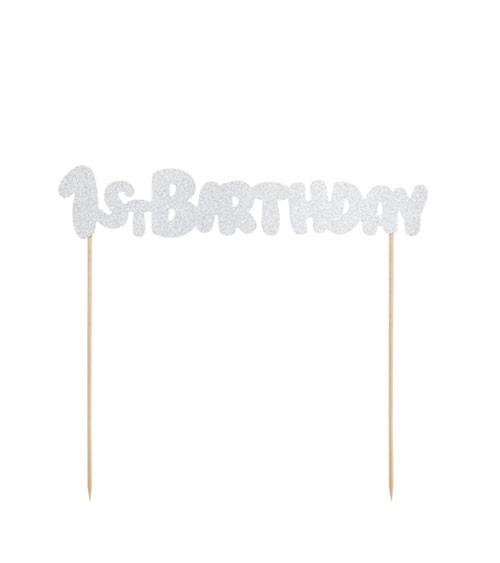 """Tortenstecker aus Papier """"1st Birthday"""" - glitter silber - 21 cm"""