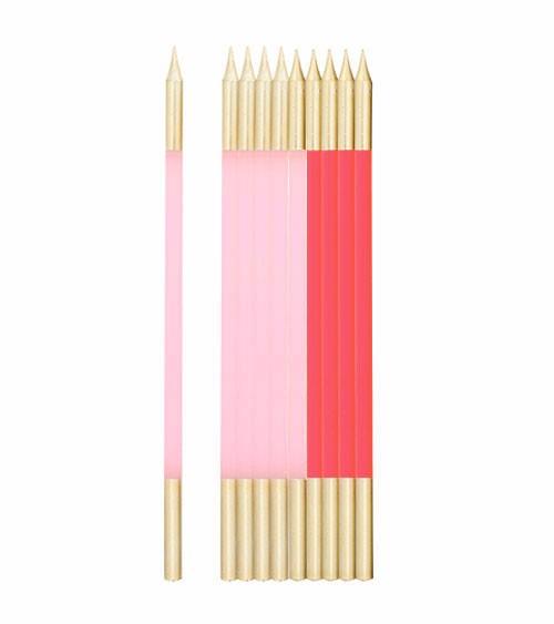 Lange Kuchenkerzen - gold & rosa - 15,5 cm - 10 Stück