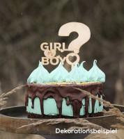 "Cake-Topper ""Girl or Boy"" aus Holz"
