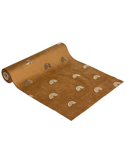 Tischläufer aus Velours mit goldenen Regenbögen - 28 cm x 3 m