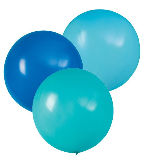"Große Luftballons ""Farbmix Blau"" - 61 cm - 3-teilig"