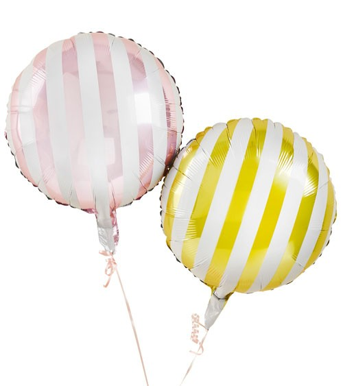 "Folienballon-Set ""Candy Stripe"" - rosa, gelb - 2-teilig"