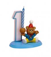 """Kuchen-Deko-Set """"1. Geburtstag mit Teddybär"""" mit Kerze"""