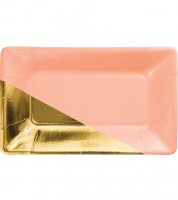 Rechteckige Pappteller - blush/gold -  8 Stück