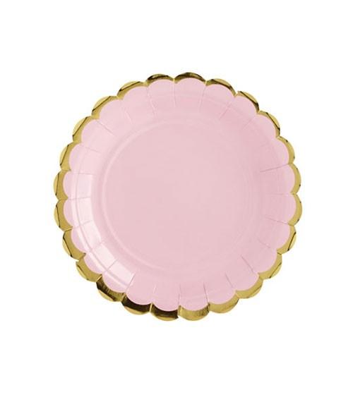 Kleine Pappteller mit Goldrand - rosa - 6 Stück
