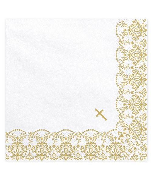 Servietten mit kleinem Kreuz - gold - 20 Stück