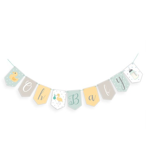 """Wimpelgirlande """"Oh Baby"""" - neutral - 2,5 m"""
