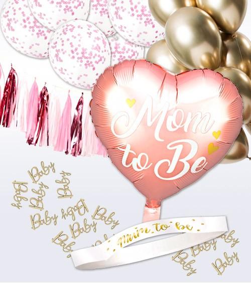 "Babyparty Deko-Set ""Mom to Be"" 39-teilig - rosa"