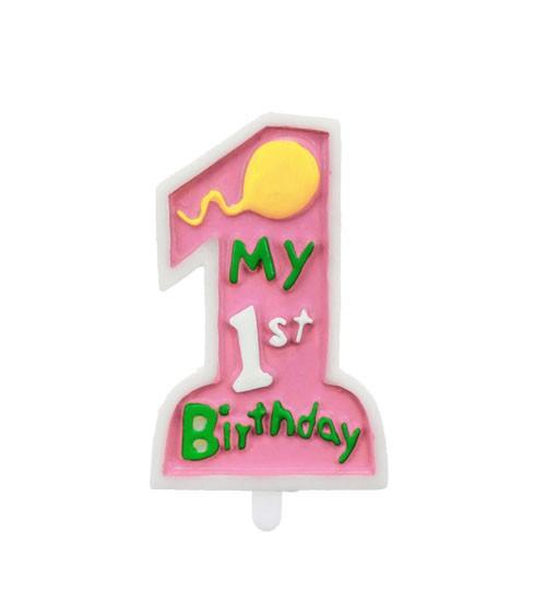 """Kuchenkerze """"My 1st Birthday"""" - pink - 10 cm"""