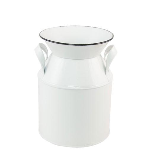 Deko-Milchkanne aus Metall - weiß, schwarz - 13 x 17,5 cm