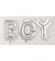 "Folienballon-Set ""BOY"" - silber - 36 cm"