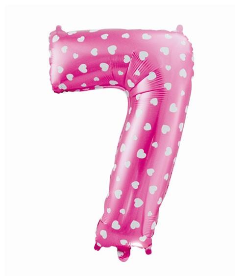 "Folienballon Zahl ""7"" - pink mit Herzen - 61 cm"