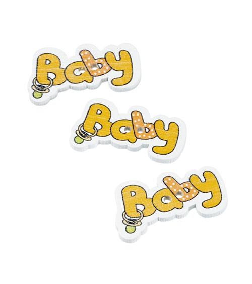 """Holzstreuteile """"Baby"""" - gelb - 3,7 cm - 12 Stück"""
