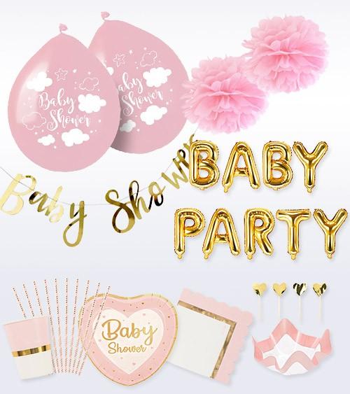 "Babyparty Deko-Set ""So sweet"" - rosa - 56-teilig"