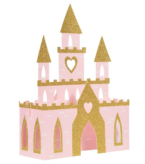 """Tischaufsteller """"Schloss"""" - rosa & glitter gold - 28 x 38 x 10 cm"""