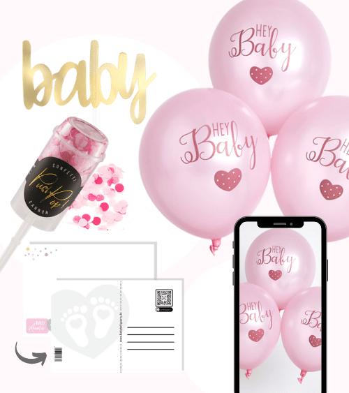 Virtuelle Babyparty Set mit Luftballons - rosa - 9-teilig