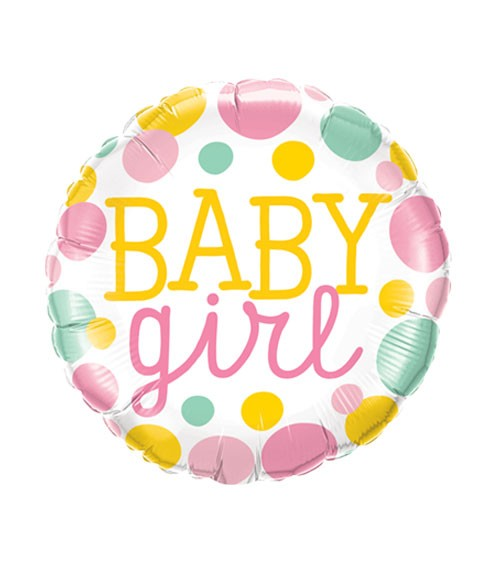 "Runder Folienballon ""Baby Girl"" mit Punkten - 46 cm"