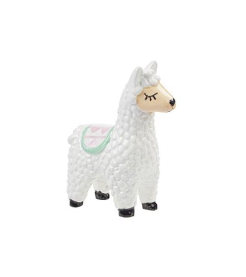 Deko-Lama aus Polyresin - weiß - 6,5 cm