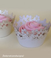 "Cupcake-Wrapper ""Blumen - perlmutt weiß"" - 12 Stück"