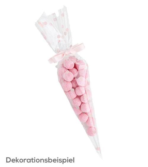 Spitztüten mit rosa Punkten - 10 Stück