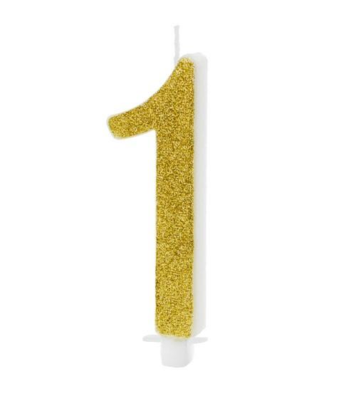 """Script-Zahlenkerze """"1"""" - glitter gold - 10 cm"""