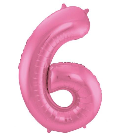 """Zahl-Folienballon """"6"""" - matt candy pink - 86 cm"""