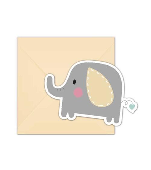 """Einladungskarten """"Baby Elefant"""" - 6 Stück"""