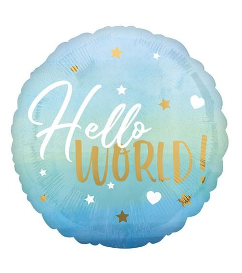"Runder Folienballon ""Hello World!"" - hellblau & gold - 43 cm"